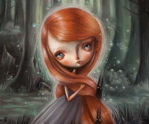 girl, illustation, and woods image