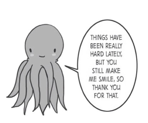 smile, quote, and octopus image