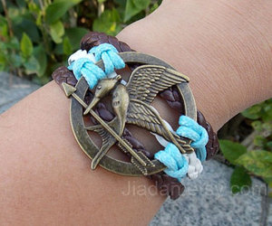 sky blue, leather bracelet, and creative bracelet image