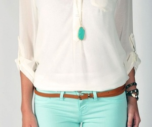 belt, blouse, and necklace image