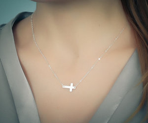 sideways cross necklace, sterling silver necklace, and silver cross image