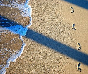 beach, sand, and footprints image