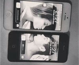 girlfriend, iphone, and kiss image