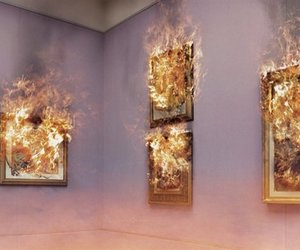 art, window, and fire image