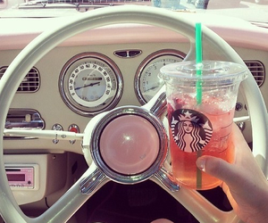 car, pink, and coffe image