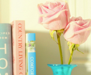 book, rose, and flowers image