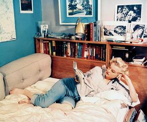 Marilyn Monroe, book, and vintage image