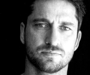 gerard butler, black and white, and Hot image