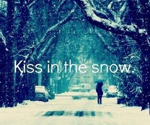 snow, kiss, and love image