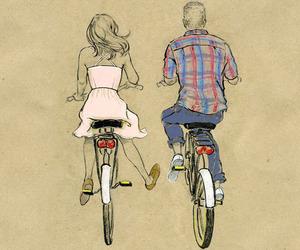 love, couple, and bike image