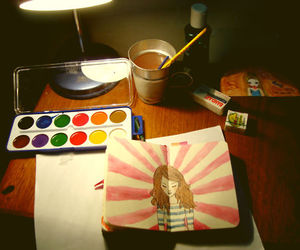 desk, drawing, and girl image