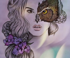 girl, owl, and draw image