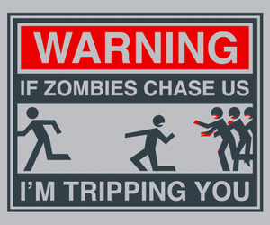 zombies, warning, and funny image