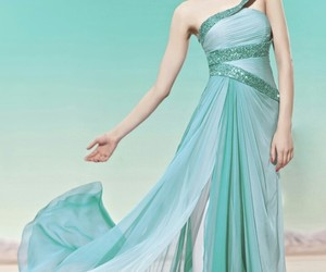 glitter, green dress, and prom dress image