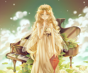 anime, piano, and anime girl image