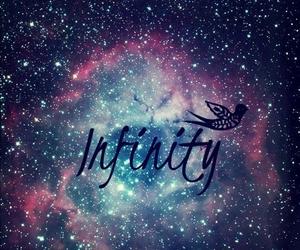 infinity, galaxy, and bird image