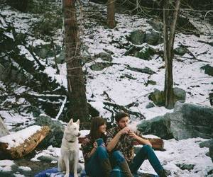 dog, couple, and snow image