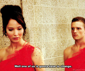 katniss, peeta, and funny image