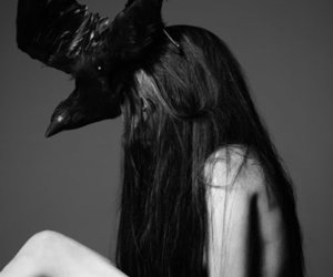 Lady gaga, black and white, and crow image