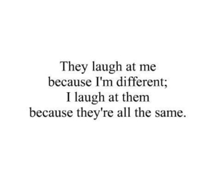 quote, different, and laugh image