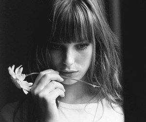 flowers, jane birkin, and black and white image