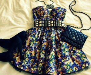 belt, dress, and chanel purse image