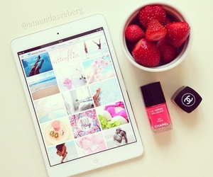 strawberry, ipad, and chanel image