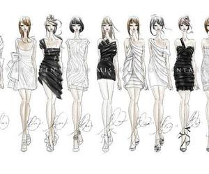 fashion, dress, and sketch image