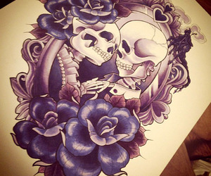 drawing, skull, and tattoo image