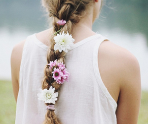 braid, flowers, and pretty image
