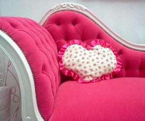 pink, heart, and sofa image
