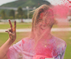 girl, pink, and paint image