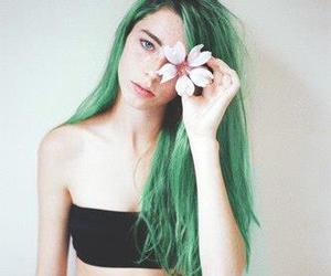 colored hair, green, and girl image