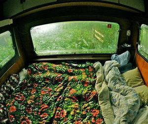 bed, car, and vintage image