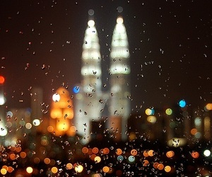 city, rain, and light image