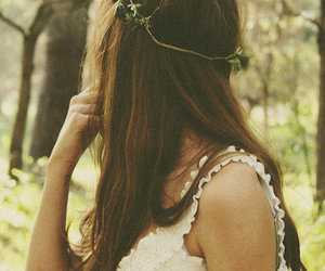 brown, forest, and dress image