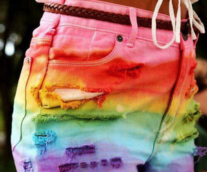 shorts, rainbow, and summer image
