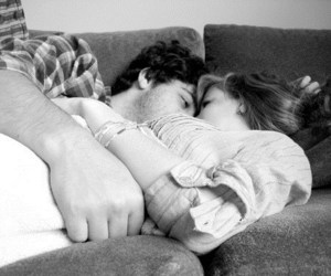 black and white, cuddle, and cute couple image