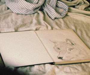 wolf, art, and bed image