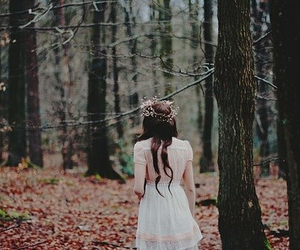 girl, forest, and flowers image