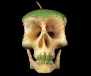 apple, art, and skull image