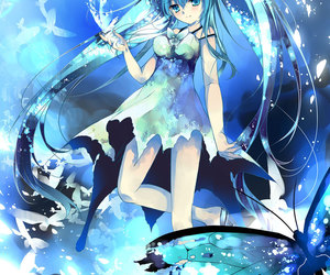anime, blue hair, and butterfly image