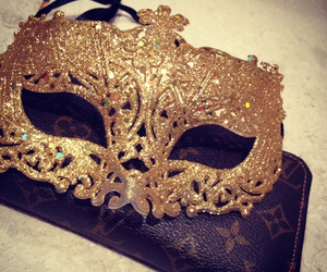mask, gold, and luxury image