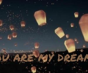 Dream, lampions, and night sky image