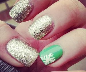 nails, green, and winter image