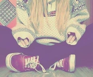 vans, sweater, and blonde image