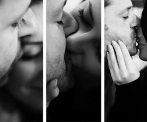b&w, couple, and kissing image