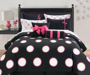 bed, pink, and black image
