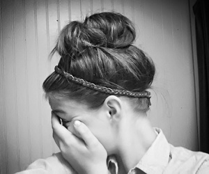 black and white, braided, and brunette image
