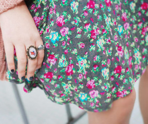 floral, dress, and ring image